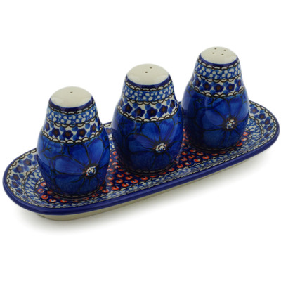 "Polish Pottery Seasoning Set 10"" Cobalt Poppies UNIKAT"