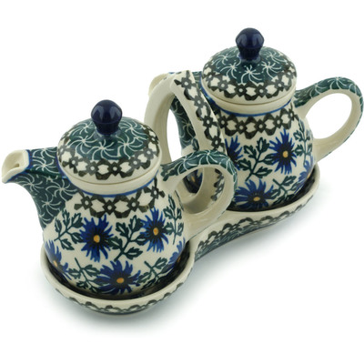 "Polish Pottery Seasoning Set 6"" Blue Chicory"