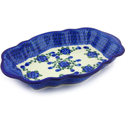 "Polish Pottery Serving Bowl 16"" Blue Poppies"