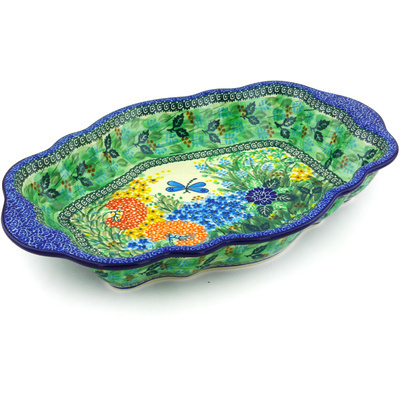"Polish Pottery Serving Bowl 16"" Garden Delight UNIKAT"