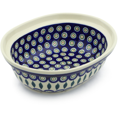 "Polish Pottery Serving Bowl 8"" Peacock Leaves"