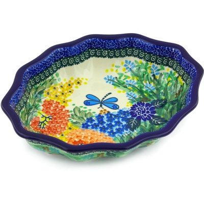 "Polish Pottery Serving Bowl 9"" Garden Delight UNIKAT"