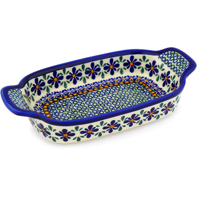Polish Pottery Serving Dish or Baker Small Gingham Flowers