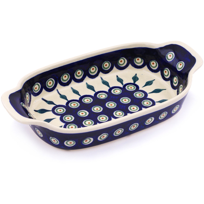Polish Pottery Serving Dish or Baker Small Peacock Leaves