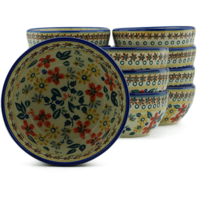 "Polish Pottery Set of 12 Bowls 5"" Red Anemone Meadow UNIKAT"