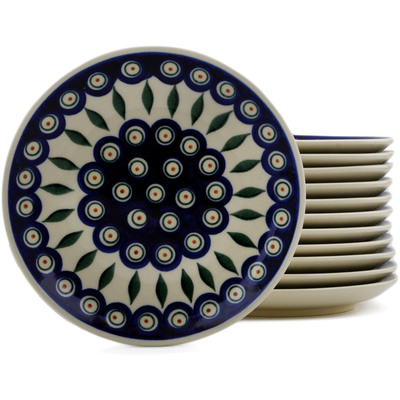 Polish Pottery Set of 12 dessert plates Peacock