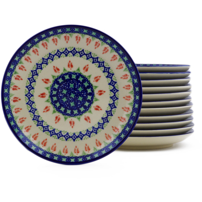 Polish Pottery Set of 12 dessert plates Tulips And Diamonds