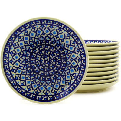 "Polish Pottery Set of 12 Plates 7"" Blue Diamond"