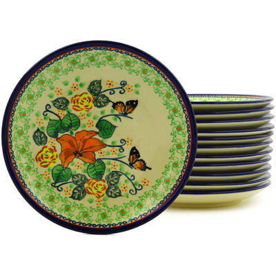 "Polish Pottery Set of 12 Plates 7"" Butterfly Meadow UNIKAT"