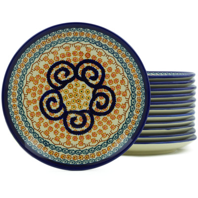 "Polish Pottery Set of 12 Plates 7"" Cinnamon Swirl UNIKAT"