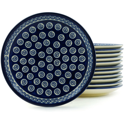 "Polish Pottery Set of 12 Plates 7"" Cobalt Swirl"