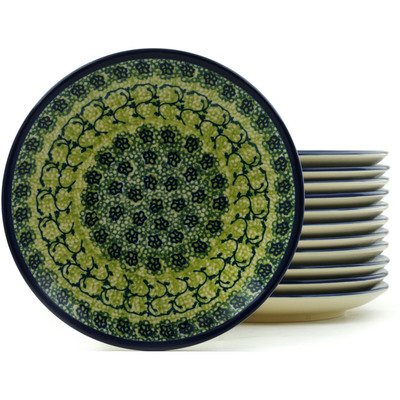 "Polish Pottery Set of 12 Plates 7"" Emerald Forest"