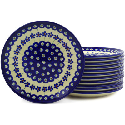 "Polish Pottery Set of 12 Plates 7"" Flowering Peacock"