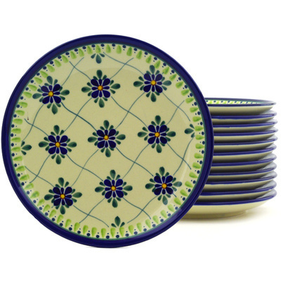 "Polish Pottery Set of 12 Plates 7"" Gingham Trellis"