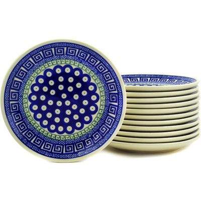 "Polish Pottery Set of 12 Plates 7"" Grecian Peacock"