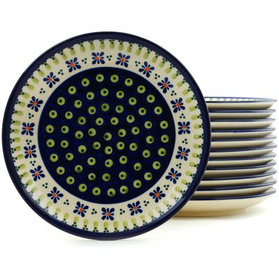 "Polish Pottery Set of 12 Plates 7"" Green Gingham Peacock"