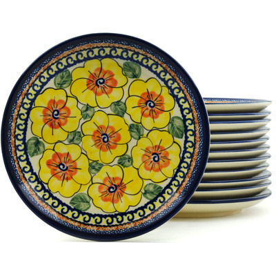 "Polish Pottery Set of 12 Plates 7"" Lemon Poppies UNIKAT"