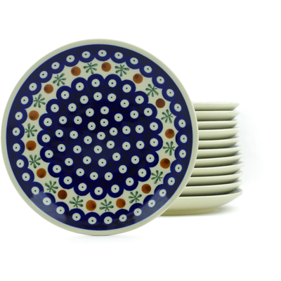 "Polish Pottery Set of 12 Plates 7"" Mosquito"