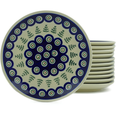 "Polish Pottery Set of 12 Plates 7"" Peacock Christmas"