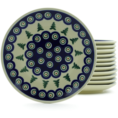 "Polish Pottery Set of 12 Plates 7"" Peacock Evergreen"