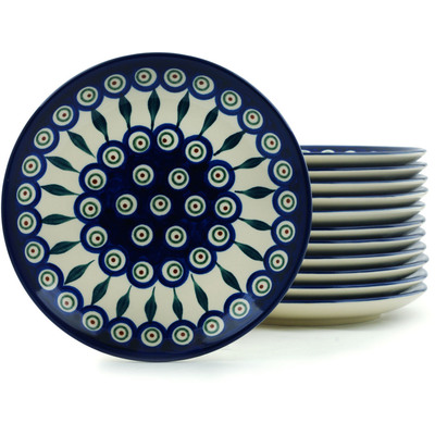 "Polish Pottery Set of 12 Plates 7"" Peacock Leaves"