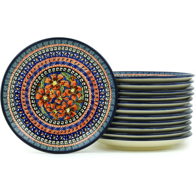 "Polish Pottery Set of 12 Plates 7"" Poppies UNIKAT"