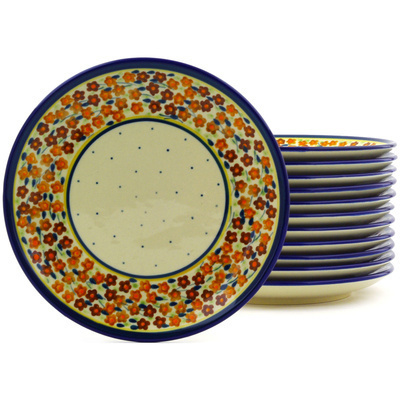 "Polish Pottery Set of 12 Plates 7"" Russett Floral"