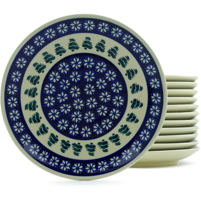 "Polish Pottery Set of 12 Plates 7"" Snowflakes And Pines"