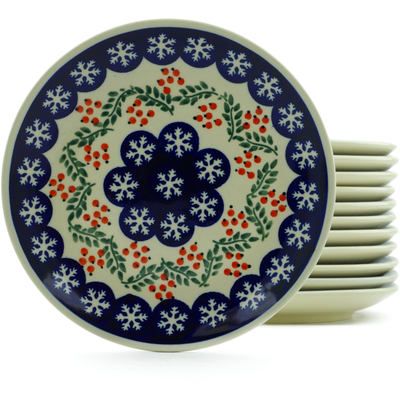 "Polish Pottery Set of 12 Plates 7"" Snowflakes Tree"