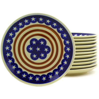 "Polish Pottery Set of 12 Plates 7"" Stars And Stripes Foreve"