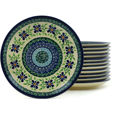 "Polish Pottery Set of 12 Plates 7"" Sweet Violet"