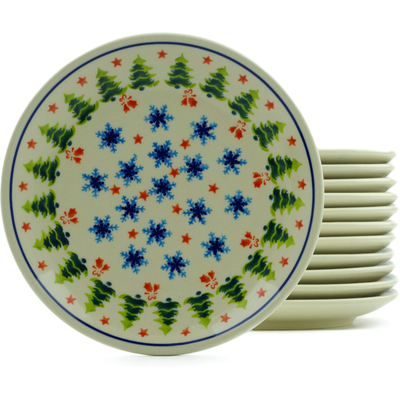 "Polish Pottery Set of 12 Plates 7"" Winter Land"