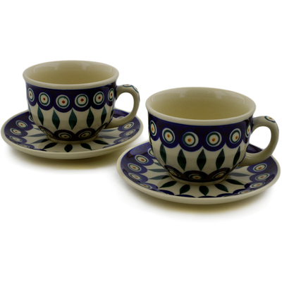 Polish Pottery Set of 2 Cups with Saucers Peacock