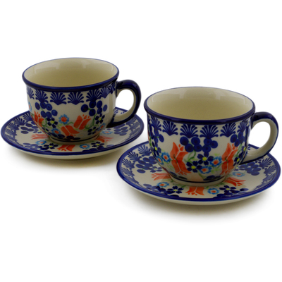 Polish Pottery Set of 2 Cups with Saucers Tulip Berries