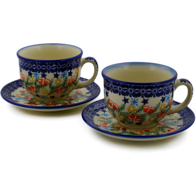 Polish Pottery Set of 2 Cups with Saucers Wreath Of Bealls