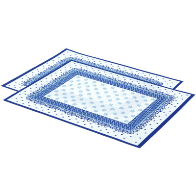 "Polyester Set of 2 Place Mats 16"" Blue Winter"