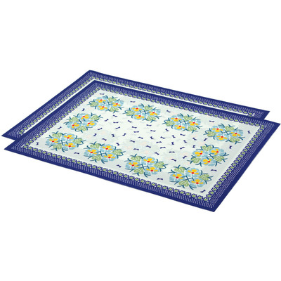 "Polyester Set of 2 Placemats 16"" Blue Boutiques"