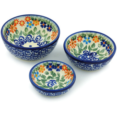 Polish Pottery Set of 3 Nesting Bowls Small Blissful Daisy