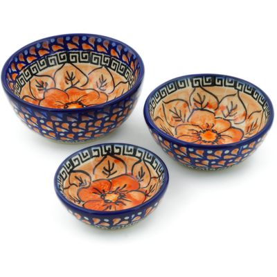 Polish Pottery Set of 3 Nesting Bowls Small Fire Poppies UNIKAT