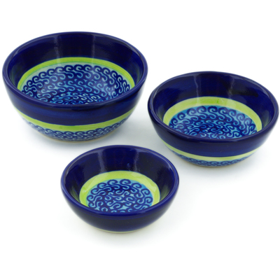 Polish Pottery Set of 3 Nesting Bowls Small Midnight Eclipse