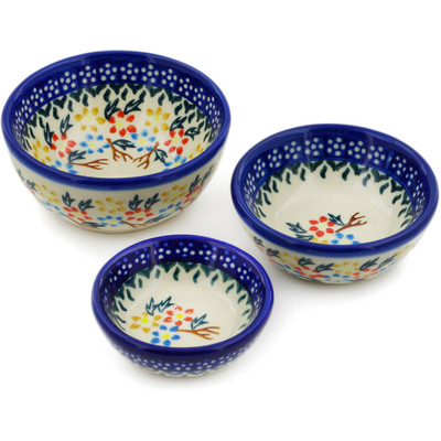 Polish Pottery Set of 3 Nesting Bowls Small Spring Flower Ring
