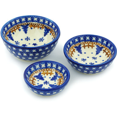 Polish Pottery Set of 3 Nesting Bowls Small Winter Snow