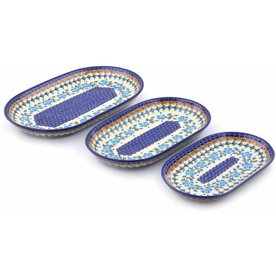"Polish Pottery Set of 3 Platters 13"" Blue Cornflower"