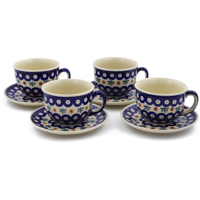Polish Pottery Set of 4 Cups with Saucers Mosquito