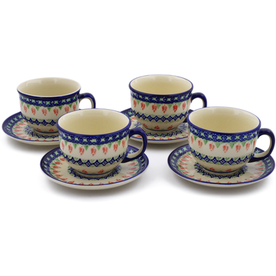 Polish Pottery Set of 4 Cups with Saucers Tulips And Diamonds