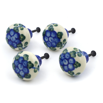 Polish Pottery Set of 4 Drawer Pull Knobs Blue Poppies