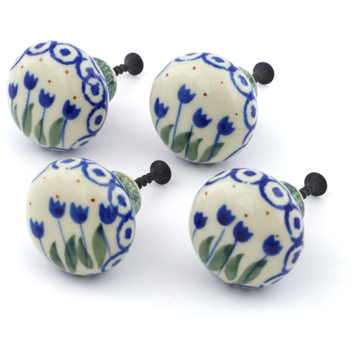 Polish Pottery Set of 4 Drawer Pull Knobs Blue Tulip Circle