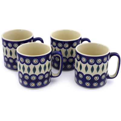 Polish Pottery Set of 4 Mugs Peacock