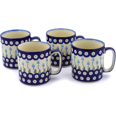 Polish Pottery Set of 4 Mugs Peacock Tulip Garden