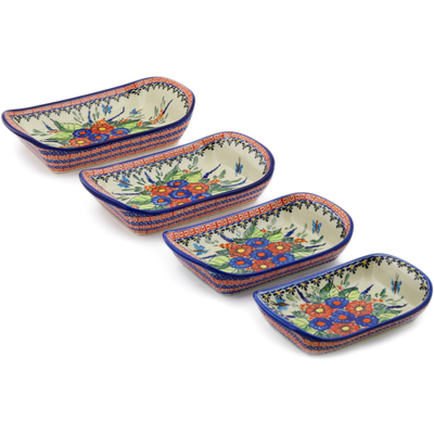 "Polish Pottery Set of 4 Rectangular Bakers 11"" Spring Splendor UNIKAT"